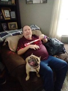 My dad came to visit and didn't know we were dog sitting so he decided to have a little fun.